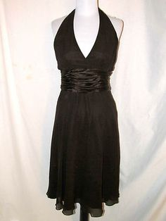Sz 6 Maggy London Halter Cocktail Dress Dark Chocolate Brown Silk Lined Back Tie