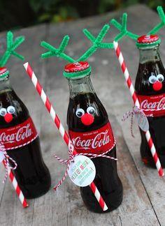 How to Make Coca-Cola Bottle Reindeer - Coke Bottle Reindeer gift - 10 Secret Santa Gifts, Secret Santa Christmas Gifts, Coca Cola Christmas, Homemade Christmas Gifts, Christmas Fun, Holiday Gifts, Coca Cola Gifts, Pop Sicle, Christmas Crafts