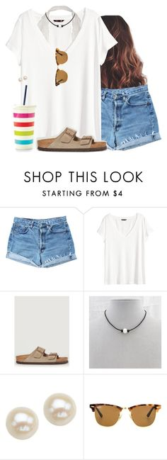 """""""White tee"""" by aweaver-2 on Polyvore featuring Levi's, H&M, Birkenstock, Honora and Ray-Ban"""