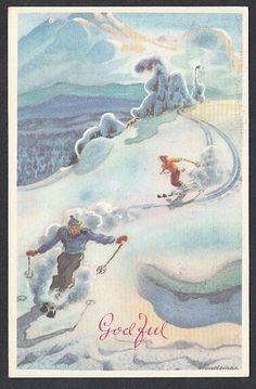 Julekort Søndenaa - Skiløpere. Oppi brukt 1968
