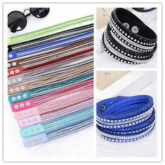 1PC Women Fashion Leather Wrap Wristband Cuff Punk Rhinestone Bracelet Bangle K1641