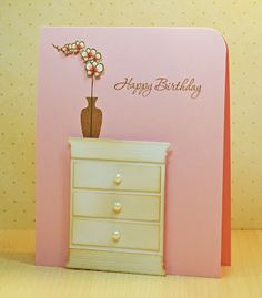 Card is made from Poppystamps Small Window die - converted into a dresser!