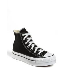 Converse Chuck Taylor High Top Platform Sneaker ($44) ❤ liked on Polyvore featuring shoes, sneakers, converse, platform sneakers, black high top shoes, converse shoes, black hi tops and black platform sneakers