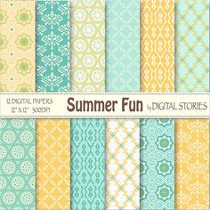 Summer Digital Paper SUMMER FUN yellow teal blue by DigitalStories, €2.60