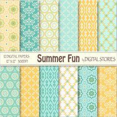 Summer Digital Paper SUMMER FUN yellow teal blue by DigitalStories, €2.60