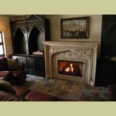 COMPLETED ANTIQUE FIREPLACE MANTEL INSTALLATION WITH NON-VENTED GAS ...