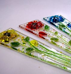 Fused Glass Plant Stakes and Garden Stakes Flower by CDChilds GREAT IDEA!