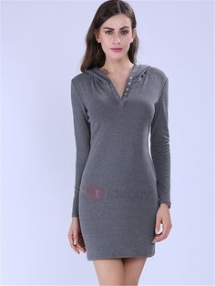 Solid Long Sleeve Hooded Casual Dress - My style 15 Dresses, Dresses Online, Dress Outfits, Fashion Outfits, Sheath Dress, Bodycon Dress, Buy Dress, Long Sleeve, Casual
