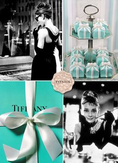 Tiffany & Co.Breakfast at Tiffany's, my all time favorite movie and i LOVE Audrey Hepburn, have that poster in my room =) Tiffany Blue, Color Azul Tiffany, Tiffany Und Co, Tiffany Party, Tiffany Cakes, Tiffany Wedding, Tiffany Theme, Audrey Hepburn, Kitty Party