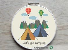 Lets go camping! counted cross stitch pattern Buy 4 patterns and get 25% discount! Place 4 patterns in your cart and enter the code HAPPINESST3and1free at checkout and you get 25% discount. The pattern comes as a PDF file that youll will be able to download immediately after purchase. In