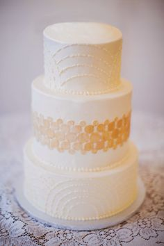 Art Deco inspired 3-tier wedding cake with clean geometric designs