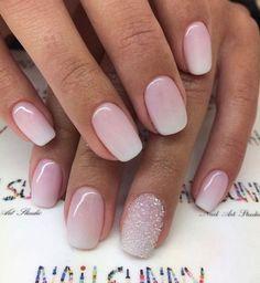 short nails squoval nails ombre nails glitter nails nail inspiration nail d Sns Nails Colors, Pink Ombre Nails, Gel Nails, Squoval Acrylic Nails, Nail Shapes Squoval, Short Pink Nails, Nails Shape, Nude Nails, Short Nails Shellac