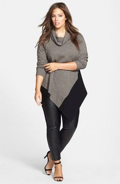 "I would really like to own this outfit.  I'd wear it to work on ""casual"" friday's.  Eileen Fisher Poncho & Leather Blocked Leggings (Plus Size)  available at #Nordstrom 2014"