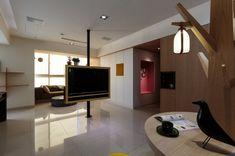 Pivoting TV Turns Playful Apartment into Entertainment Area .http://www.trendir.com/interiors/pivoting-tv-turns-playful-apartment-into-entertainment-area.html