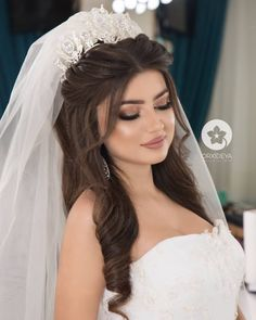 63 Gorgeous Wedding Hairstyles for Long Hair Bridal Hair And Makeup, Wedding Makeup, Hair Makeup, Hair Wedding, Wedding Bride, Makeup Hairstyle, Wedding Hairstyles With Crown, Bride Hairstyles, Quince Hairstyles