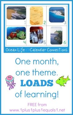 Ocean Life Calendar Connections Cards ~ Free printables