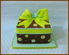 Torta pacco regalo verde-celeste / Green-Teal gift box