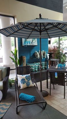 """A patio umbrella provides a bright splash of color and """"frames"""" the furnishings - Rich's for the Home Colorful Umbrellas, Patio Umbrellas, Hacks Diy, Backyards, Porches, Color Splash, Frames, Bright, Outdoor Decor"""