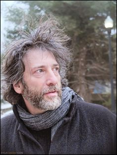 "Neil Gaiman ""I look like I was living out in the frozen wilderness, where I was panning for adjectives or something else that wild writers do. Amanda Palmer, American Gods, Neil Gaiman, Woodland Creatures, Beautiful People, Amazing People, Actors & Actresses, My Hair, How To Look Better"