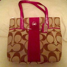Authentic Coach tote Cute and classy small purse/tote with cc monogram perfect for pretty spring days approaching. Bag is canvas with leather trim. Several convenient compartments for cell phone and etc. Coach Bags