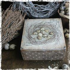"""Provence Easter"" короб-бонбоньерка - серый,белый,прованс,яйцо,Пасха,подарок"