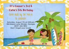 Luau Invitation Boy or GirlDigital File by graciegirldesigns77, $12.00