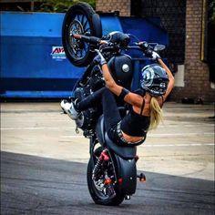 Stunt Girl on Harley-Davidson