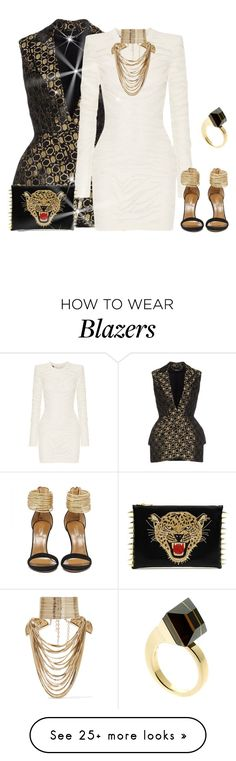 """outfit 3327"" by natalyag on Polyvore featuring Alexander McQueen, Balmain, Rosantica, Gucci, women's clothing, women, female, woman, misses and juniors"