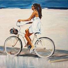 The Bike Ride - Contemporary Oil Painting on Canvas Hand Painted Wall Decor Art via Etsy