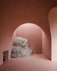 "Interiors+Architecture+Design on Instagram: ""⁠The rough body of a giant rock formation spills out from the dusty pink walls of @marplusask's Olive House in Palma De Mallorca. Although…"""