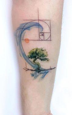 minimal geometric tattoo tattoo designs ideas männer männer ideen old school quotes sketches Geometric Tattoo Nature, Geometric Watercolor Tattoo, Watercolour Tattoo Men, Geometric Tattoos Men, Geometric Tattoo Design, Geometric Sleeve, Tatouage Fibonacci, Fibonacci Tattoo, Body Art Tattoos