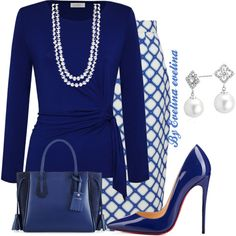 A fashion look from November 2017 featuring long sleeve shirts, pleated skirt and blue pumps. Browse and shop related looks. Classy Outfits, Beautiful Outfits, Casual Outfits, Diva Fashion, Work Fashion, Womens Fashion, Jw Mode, Jonathan Saunders, Modelos Fashion