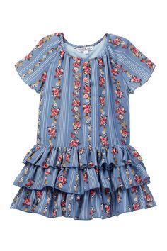 Floral Print Ruffle Dress (Little Girls)