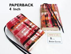 Stretch Paperback Book Cover PINK PAINTED PLAID Fabric with Bookmarks Mass Market Size 4 x 6.75 in Back to School by SEWINGtheABCs on Etsy
