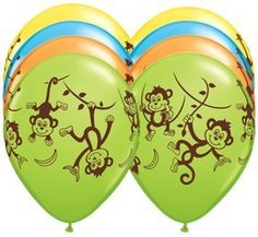 TEN 10 11 latex MONKEY GO BANANAS Happy Birthday PARTY Balloons Decorations Supplies ** Read more  at the image link.