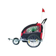 KMS Child 3 In 1 Folded Bike Trailer Stroller Jogger Seat Buggy Lightweight Red Black 1-2 Child 5 Point Harness With Canopy Visible Flag