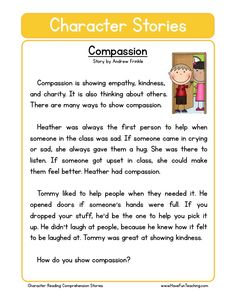 How to teach Reading Comprehension This Compassion Character Reading Comprehension Worksheet will help your students build their reading comprehension skills while reading about how to be a compassionate friend. Reading Comprehension Worksheets, Reading Fluency, Reading Passages, Comprehension Strategies, Reading Response, English Stories For Kids, English Lessons, Learn English, English Story