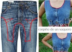 Bricomoda : Top corpiño con un pantalon vaquero Bricomoda : Top corpiño ., Bricomoda : Top corpiño con un pantalon vaquero Bricomoda : Top corpiño con un pantalon vaquero. Denim And Lace, Denim Top, Clothes Crafts, Sewing Clothes, Fashion Sewing, Denim Fashion, Top Jean, Jeans Refashion, Denim Ideas
