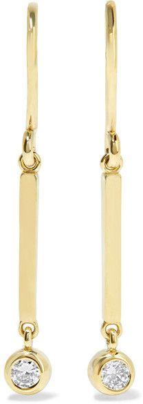 Mini Rectangle 18-karat Gold Diamond Earrings - one size Jennifer Meyer HGKCDTWoz