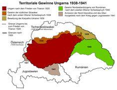 File:TeritorialGainsHungary1920-41 de.svg World History, Family History, Ukraine, Alternate History, Old Maps, Folk Music, Historical Maps, Planer, Infographic