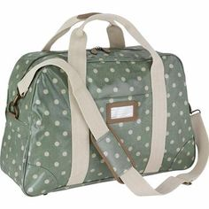 Ensure your getaway is glamorous with our sage green Spot print holdall, with plenty of space for more than just your essentials. Features leather trims and detachable, adjustable strap so you can go hands free if you need to. Keep your luggage in tune with matching overnight bag.