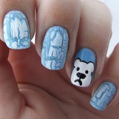 MacskaKöröm: 52WNAC - Earth Day  #polar #bear #melting #ice #earth #day #nails #nailart