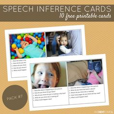 10 free printable speech therapy inference cards for kids with autism and/or hyperlexia from And Next Comes L Tap the link to check out fidgets and sensory toys! Speech Therapy Autism, Preschool Speech Therapy, Speech Language Therapy, Speech And Language, Speech Pathology, Receptive Language, Inference Activities, Autism Activities, Language Activities