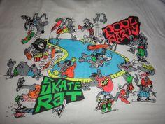 Vintage SKATE RAT Pool Party Skateboard T Shirt by TwistedFabrics