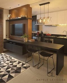 Room and kitchen divided and integrated at the same time, an excellent solution . - Home Theater Apartment Interior, Apartment Design, Home Living Room, Living Room Designs, Studio Apartment Layout, Home Decor Kitchen, Decor Interior Design, Sweet Home, Room Decor