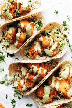 OKAY THESE TACOS ARE SO GOOD. Buffalo Cauliflower Tacos with Avocado Crema!! Baked, not fried, and breaded in a two-ingredient batter. Crispy, tangy, fiery taco perfection. #cauliflower #vegetarian #meatless #recipe #tacos   pinchofyum.com Cauliflower Tacos, Buffalo Cauliflower, Cauliflower Recipes, Cauliflower Wings, Baked Cauliflower, Mexican Food Recipes, Vegetarian Recipes, Dinner Recipes, Cooking Recipes