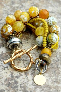 Faceted Yellow Agate, Bronze, Gold and Silver