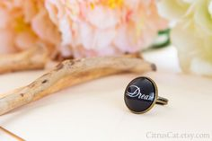 Dream ring Black Text Ring Message Ring Motivational by CitrusCat