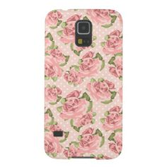 Shabby Chic Roses Polka Dots Pink Galaxy S5 Cases