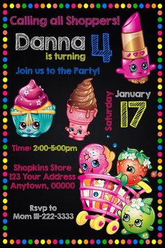 SHOPKINS Birthday party invitations personalized custom  #BirthdayChild